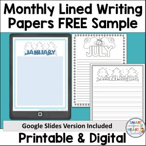 Monthly Lined Writing Paper FREE Sample